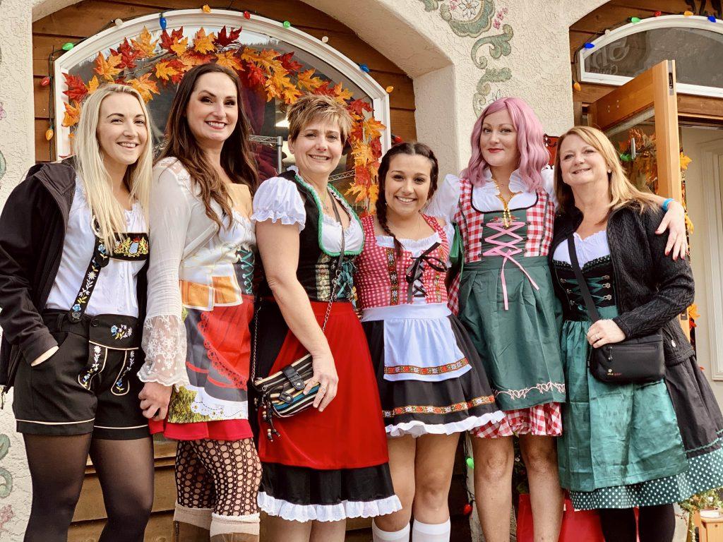 Women dressed in Bavarian costumes for Oktoberfest in Leavenworth