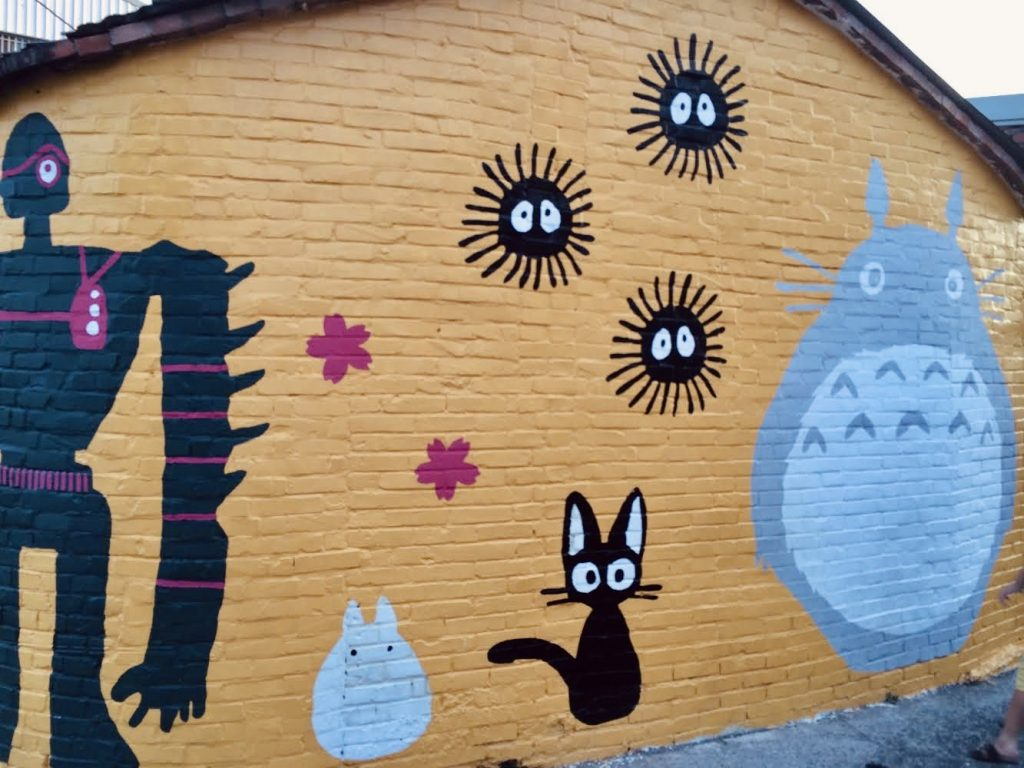 Street art and wall murals of Ghibli's Totoro at Shanhua Hu Jia painted village in Tainan