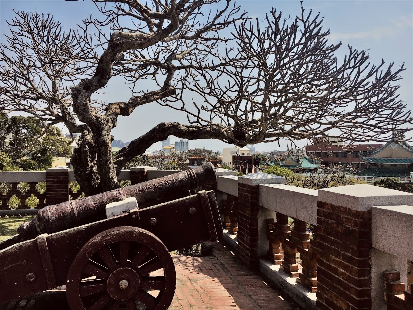 An old canon symbolizing the significance of Anping Old Fort in Tainan's history and culture