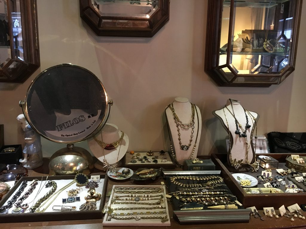 Jewelry pieces on sale at Modern Mode Cafe in Taipei