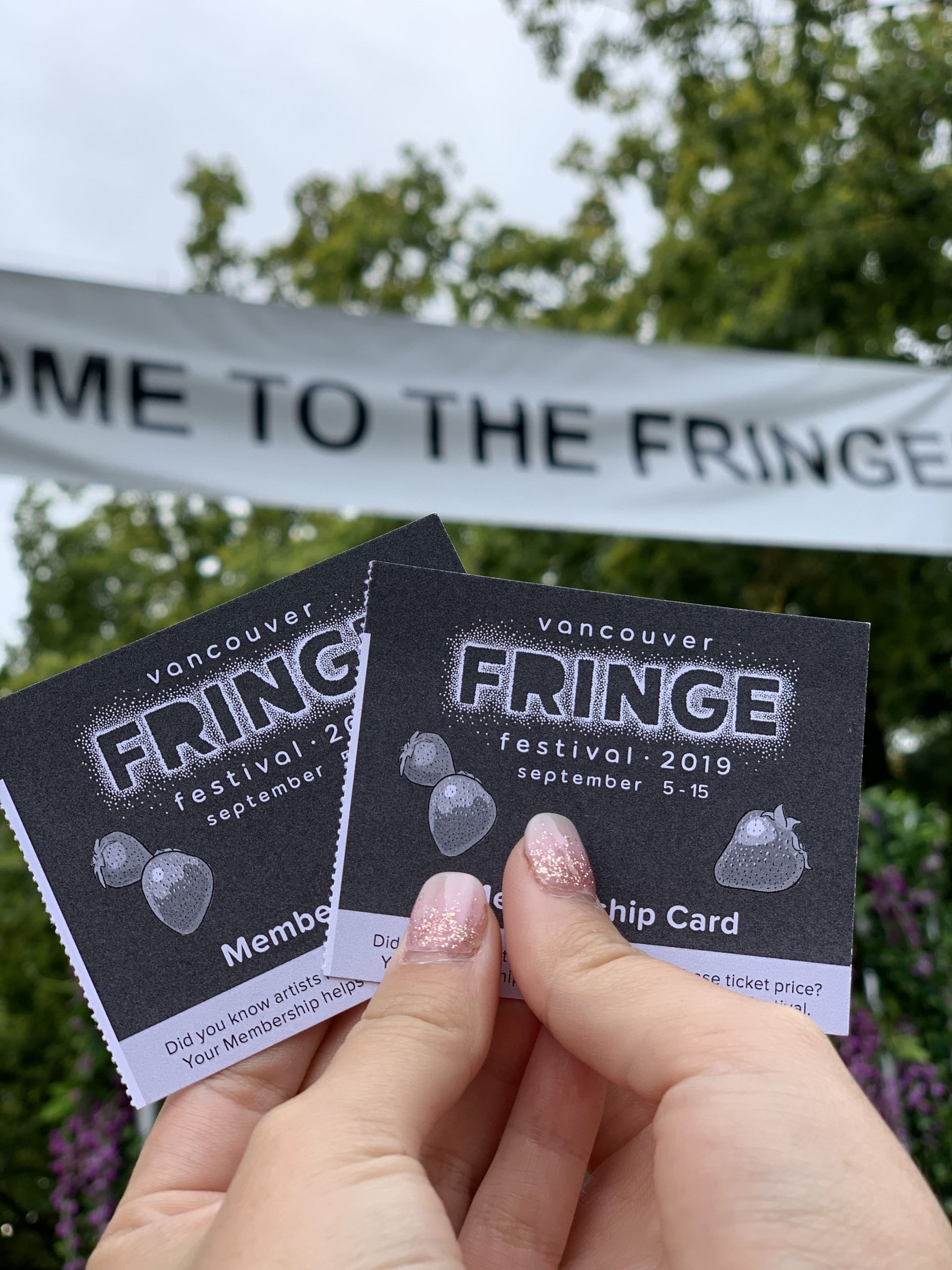 Ticket stubs to Vancouver Fringe Festival on Granville Island
