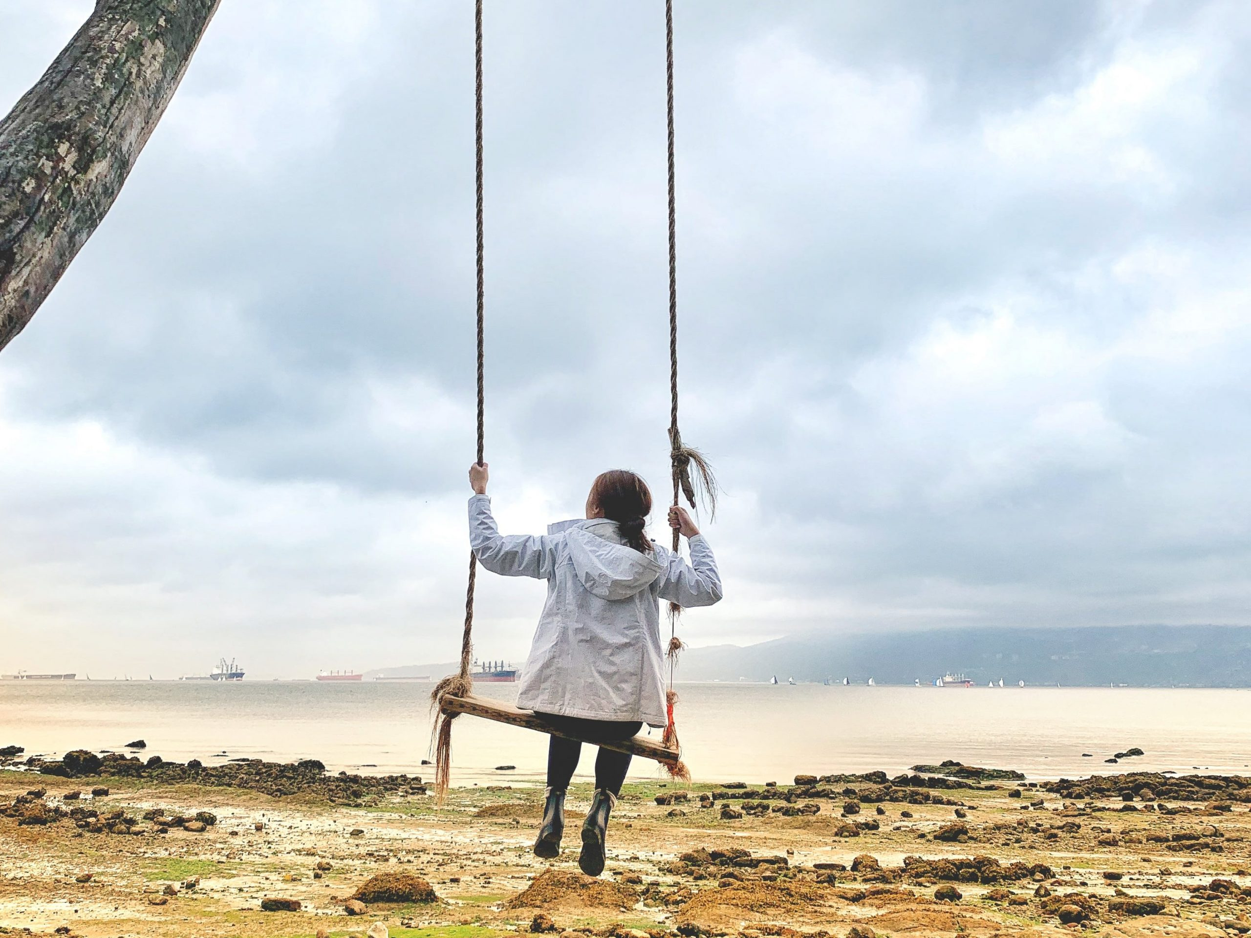 The swing at Kitslano Beach on a gloomy day