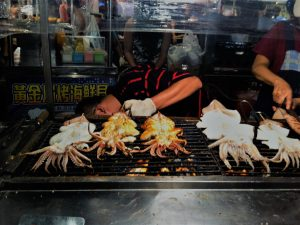 Grilled squids at Garden Night Market in Tainan