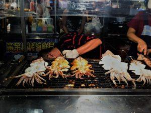 Grilled squids at Garden Night Market in Tainan