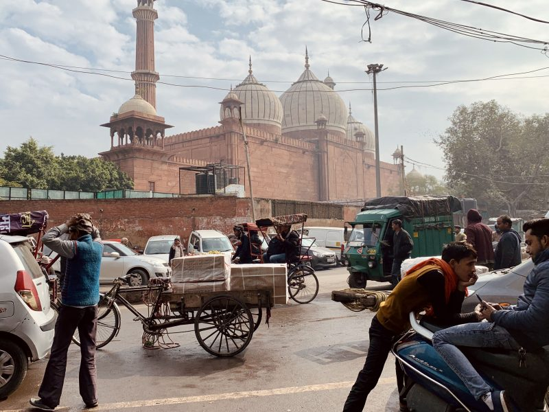 Street view of Jama Masjid in Chandni Chowk in Old Delhi