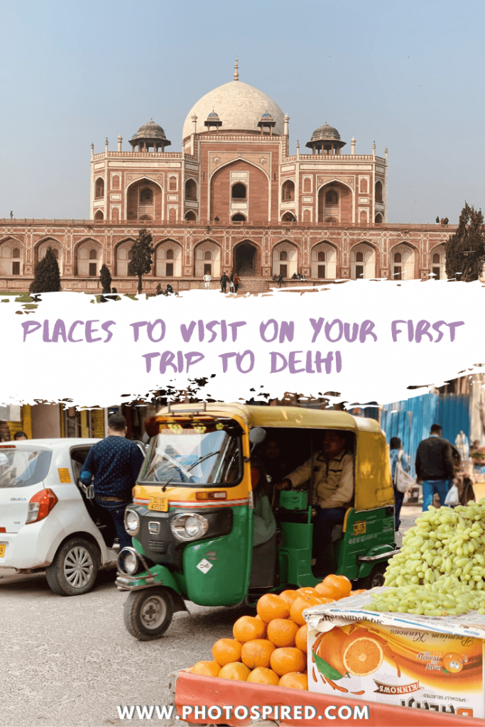 Pinterest image for places to visit on your first trip to Delhi