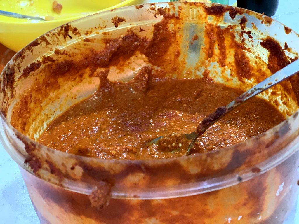 Spicy sauce at a restaurant in Maju ka Tila