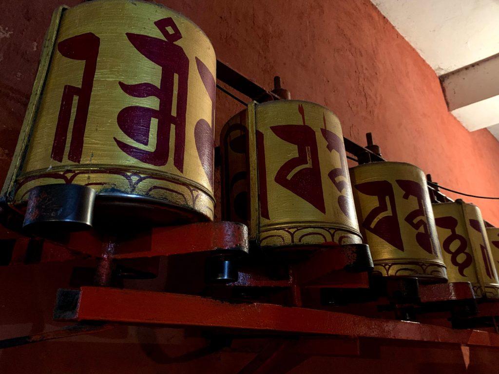 Tibetan prayer wheels at Majnu ka Tila in Delhi