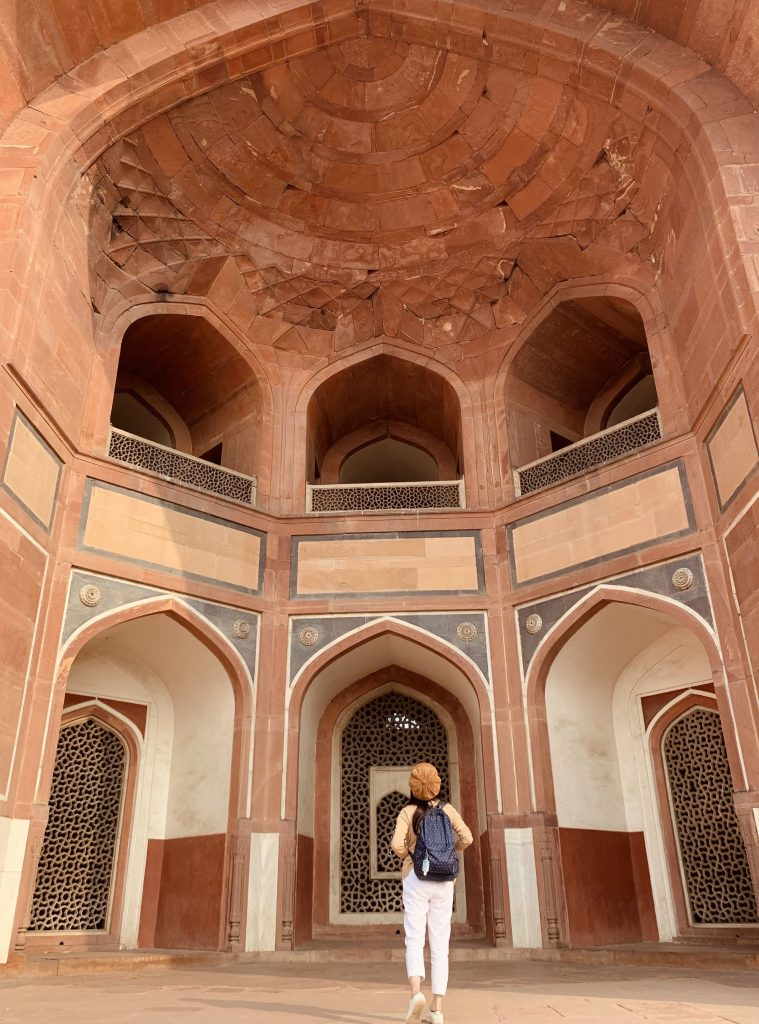 Girl walking at Humayun's Tomb in Delhi