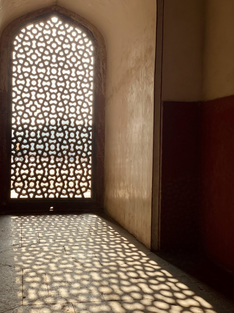 Shadows from a lattice window at Humayun's Tomb