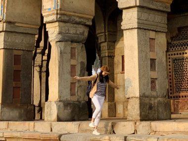 Girl walking at Humayun Tomb in Delhi