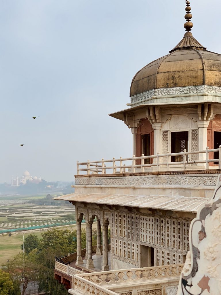 The marble tower at Agra Fort has one of the best views of the Taj Mahal