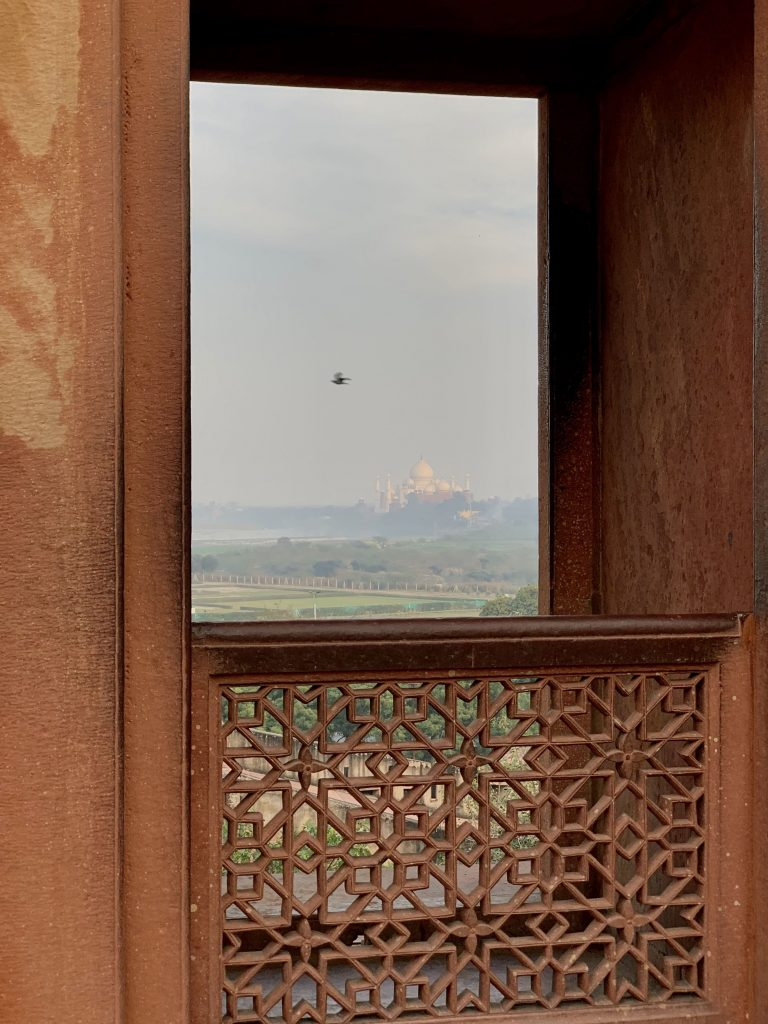 View of the Taj Mahal from one of the windows at Agra Fort