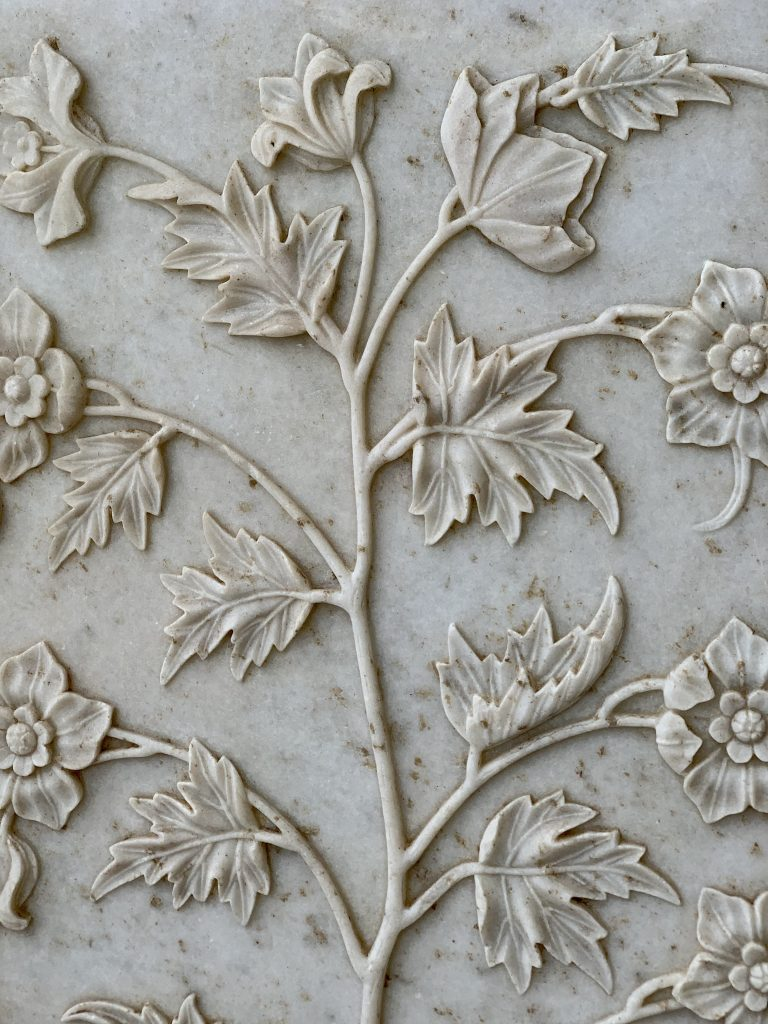 floral designs of the white marble at the Taj Mahal