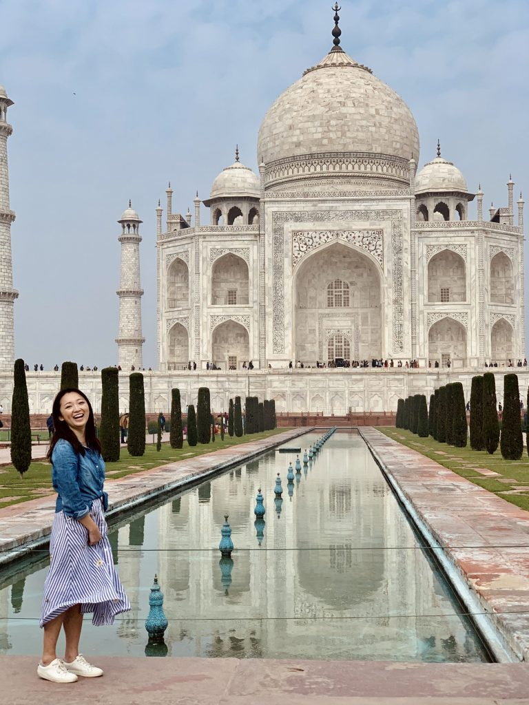 the best views posing with the Taj Mahal