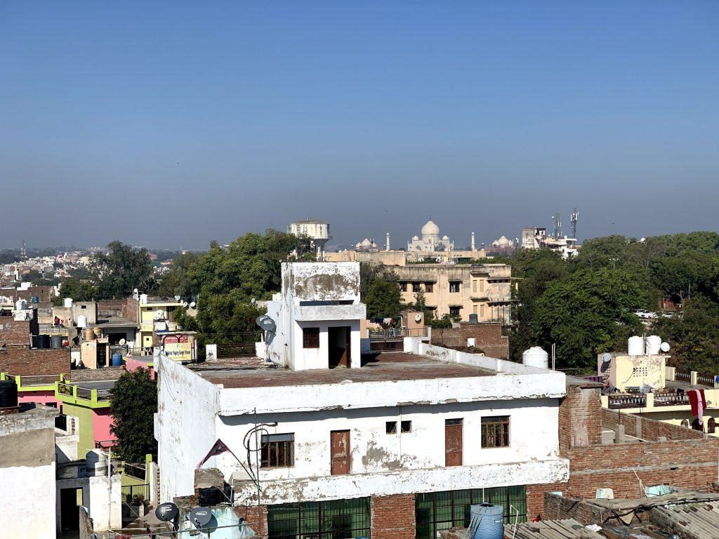 Rooftop view of the Taj Mahal in Agra