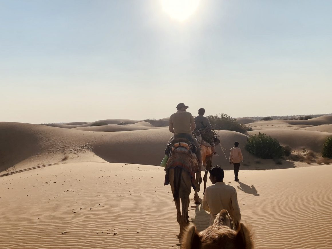 group on camelbacks going across the desert in jaisalmer