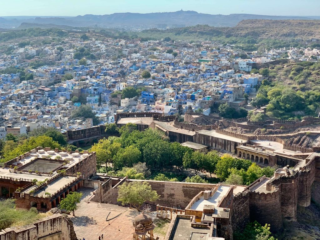 view over the blue city from mehrangarh fort