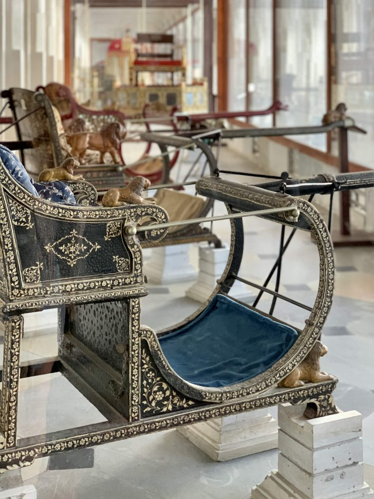 chariots on display at city palace in udaipur