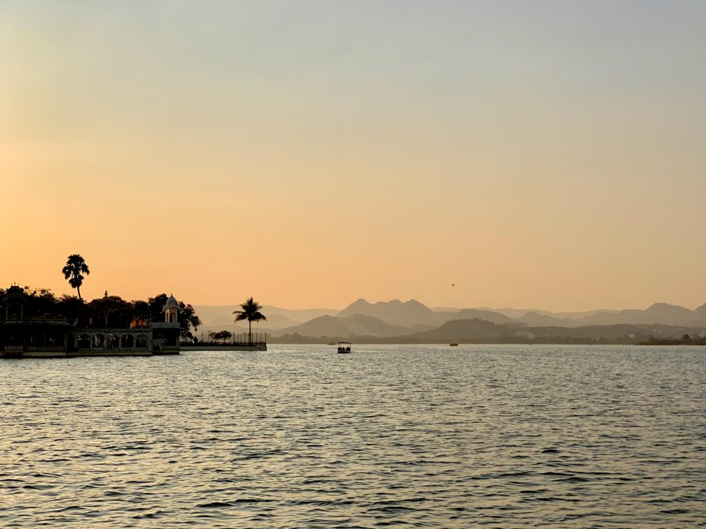 sunset view on lake pichola
