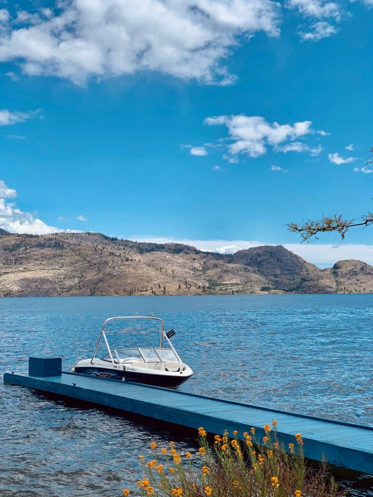 View of boat with Lake Okanagan